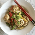 Rice Noodle Stir Fry w Shrimp & Snap Peas
