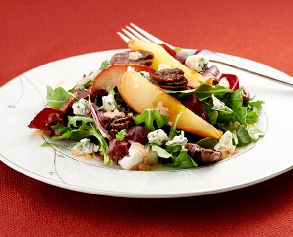 Roasted Pear Salad w Gorgonzola, Pecans, & Maple-Balsamic Dressing: This gorgeous, upscale salad would be welcome at any holiday dinner. To lighten it up even more & slash prep time? Use your favorite light balsamic dressing...it's ok...I won't tell!
