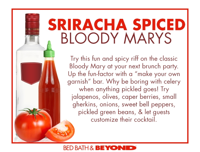 Super Bowl parties pretty much begin as a football-centric brunch right? Kick things off properly with a batch of my Spicy Sriracha Bloody Marys.