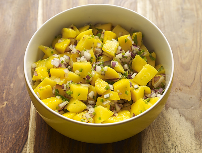 Macho Mango Salsa is perfect to bring to a friend's party or to serve as a topping for my Pulled Pork Tacos or Spicy Veggie Chili.  Why