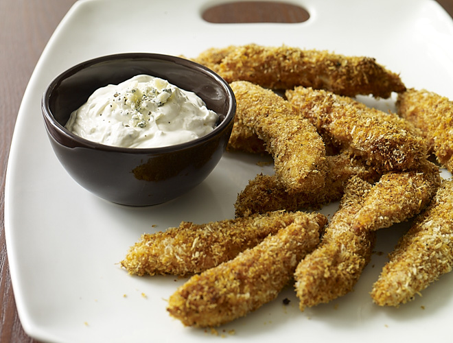 Instead of the usual wings - try making up a batch of my Crispy Buffalo Chicken Tenders w Blue Cheese Dipping Sauce.  Less mess & easier to eat too!